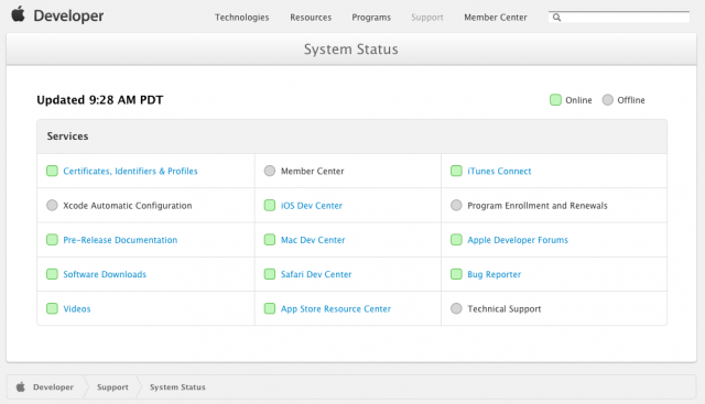 """""""Most"""" of Apple's developer site services to be restored """"this week"""""""