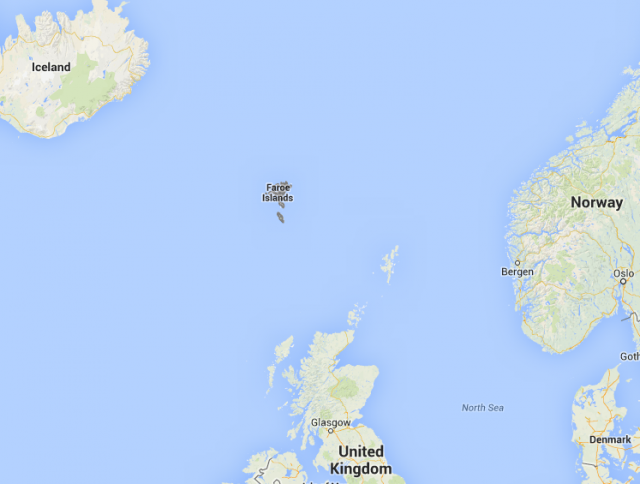 The Faroes are in the North Atlantic, roughly equidistant between Iceland, Norway, and the UK.