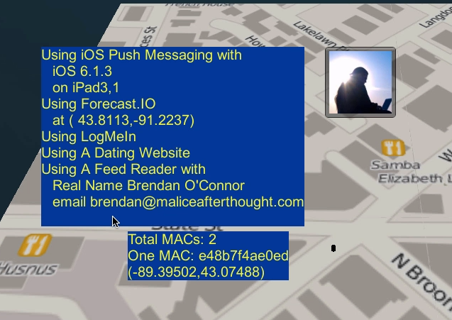 A sanitized screenshot from CreepyDOL showing some of the data it collected on its creator, Brendan O'Connor.