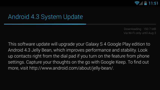 Android 4.3 begins hitting Google Play edition Galaxy S 4 and HTC One