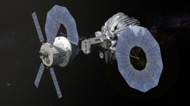 The Orion capsule (left) will be sent to the unmanned vehicle after it has bagged-and-dragged a asteroid into a convenient orbit.