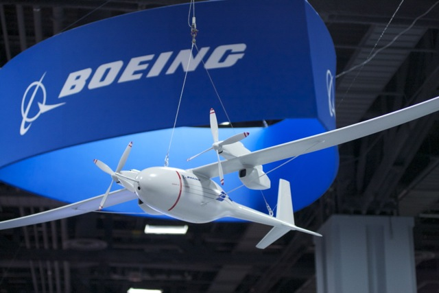 A model of Boeing's Phantom Eye at Boeing's AUVSA conference booth.