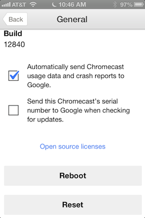 The Chromecast app for iOS: not much, but it'll do.
