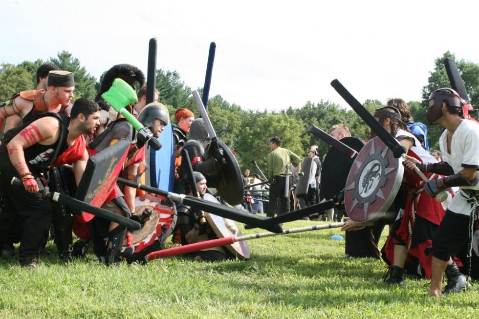 Armies face off during a bridge battle at Bellus Aeternum II in Upper Marlboro, Maryland.