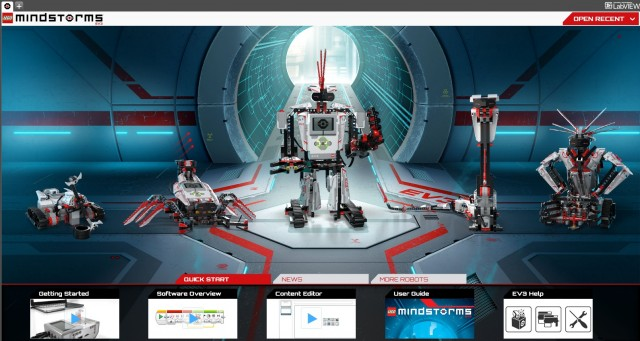 The Mindstorms EV3 app lobby, where you can view instructions and programs for the five included robot designs or start your own project.
