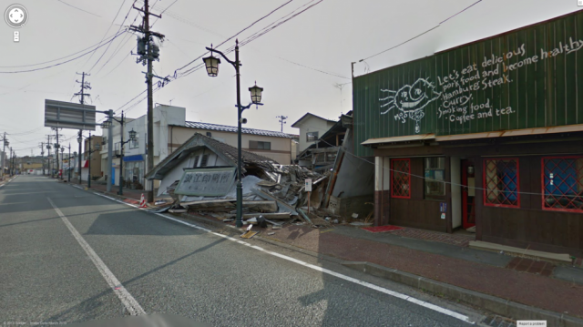 A scene from the abandoned town of Namie, near the Fukushima nuclear reactors.