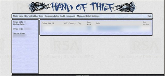 The administration panel for Hand of Thief.