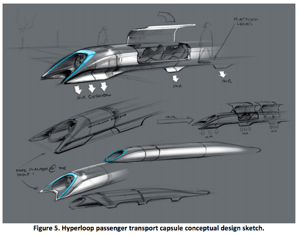 Concept sketches of the Hyperloop passenger capsules from back in 2013; note the air intake noses.