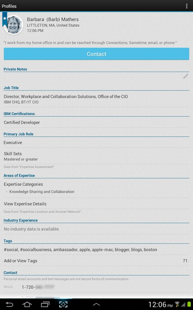 IBM's expertise app on Android.