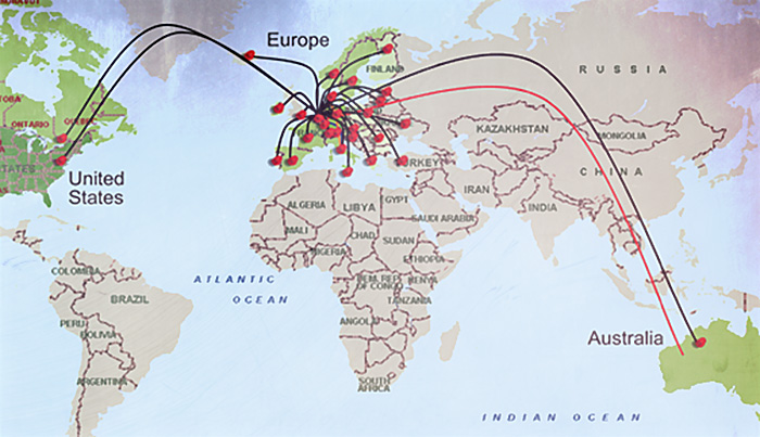 The investigation spread from Australia to Europe to the US.