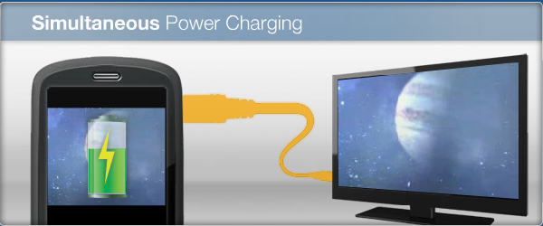 Simultaneous charging is one of MHL's advantages over Slimport and Miracast.