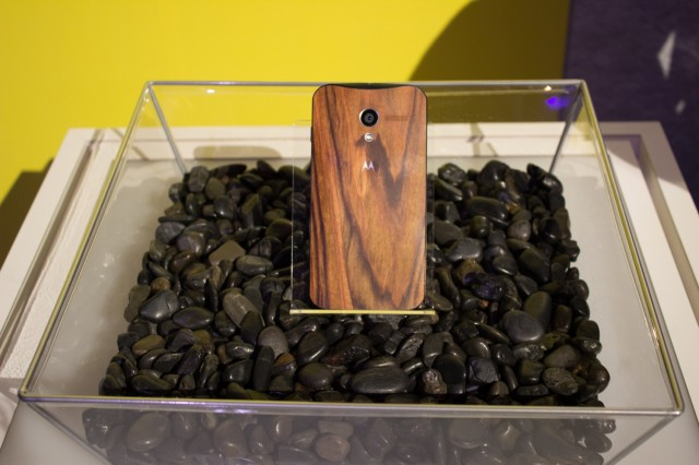 A rosewood-backed Moto X.
