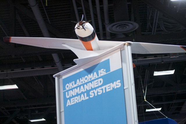 Oklahoma went big at AUVSI, hoping to make its case to be a drone—excuse me, unmanned aerial system—test site.