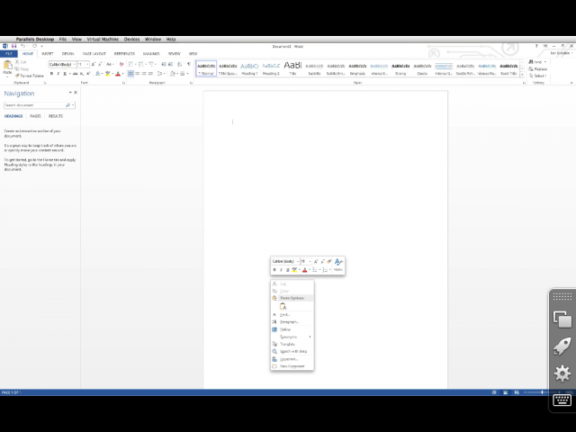 Microsoft Word on iPad, in Parallels Access.