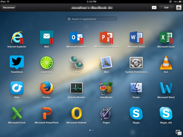 Parallels Access app launcher on iPad.
