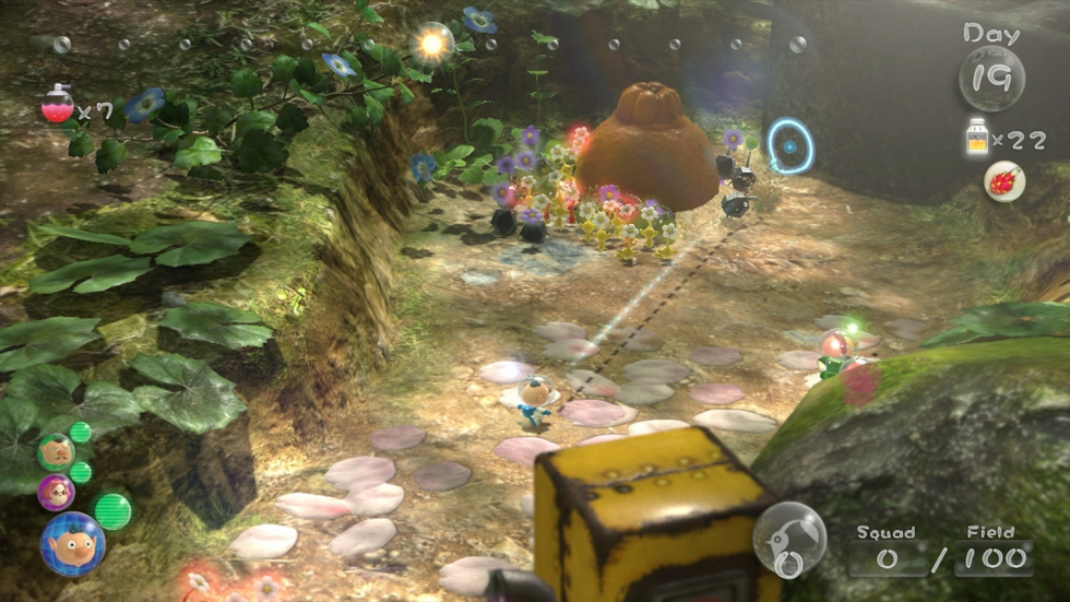Aiming a Pikmin at an orange is much more difficult than it has to be.