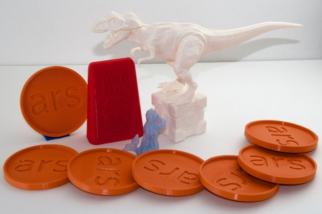 A sampling of objects created with our pair of 3D printers.