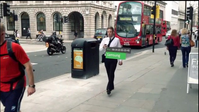 A frame from a video promoting smartphone-monitoring trashcans in London.