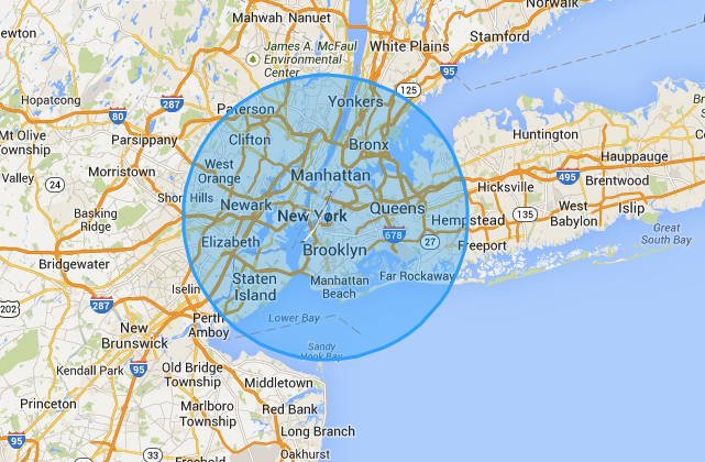 The coverage area of a Solara 50, superimposed over New York.
