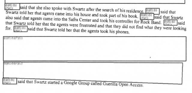 Summary of a search of Swartz's home.
