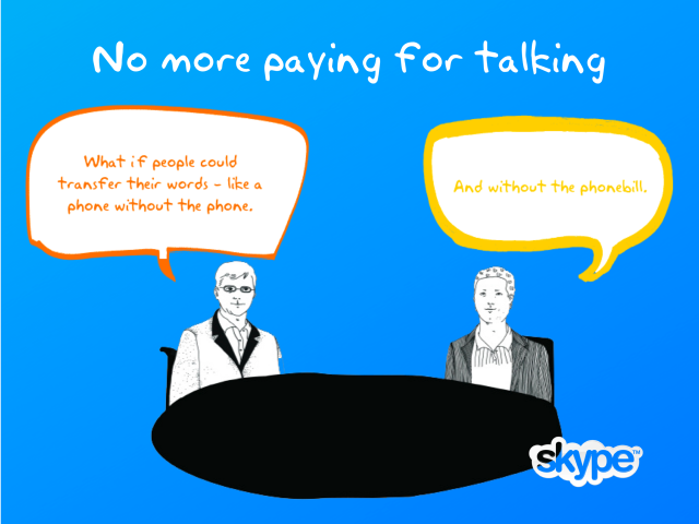 From a company powerpoint, here's an artist's impression of the moment when Skype's idea was fostered. (Zennström on the left, next to Friis.)