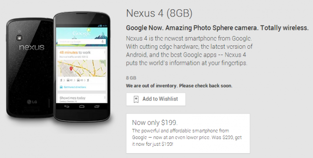 Updated: The Nexus 4 (8GB) is out of stock for good