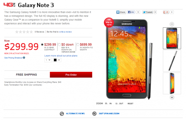 Pre-order pages up for Note 3 and Galaxy Gear, shipping early October