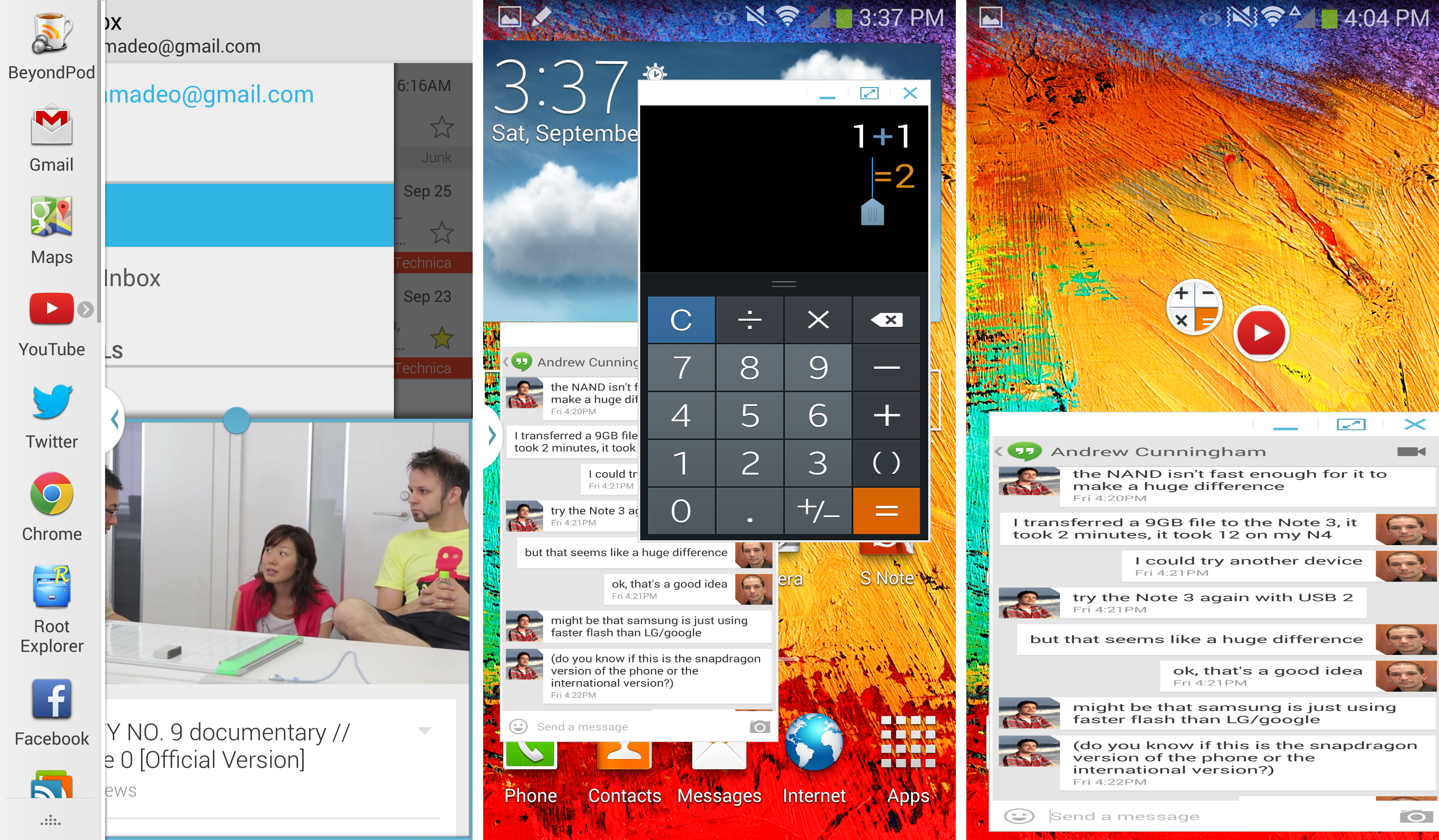 Left: Split screen apps. Center: Floating window apps. Right: Minimized floating apps and really bad horizontal stretching.