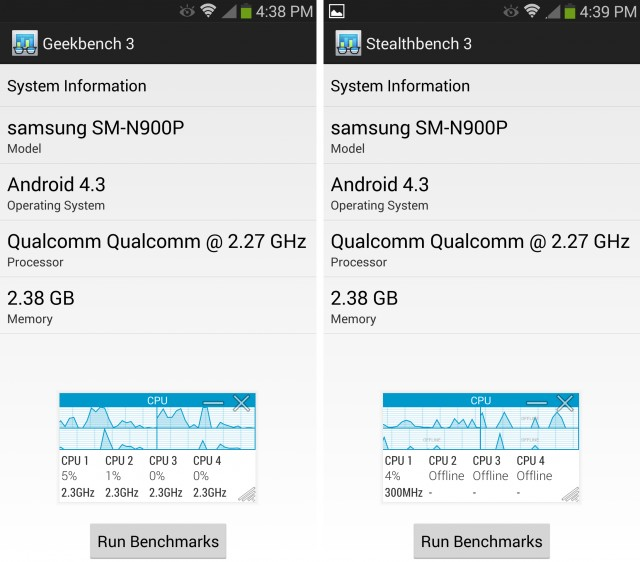 Left: Geekbench running in the boosted CPU mode. Right: Our modified version of Geekbench that allows the CPU to function normally.