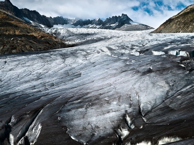 Soot covers Rhonegletscher, a glacier in the Swiss Alps.