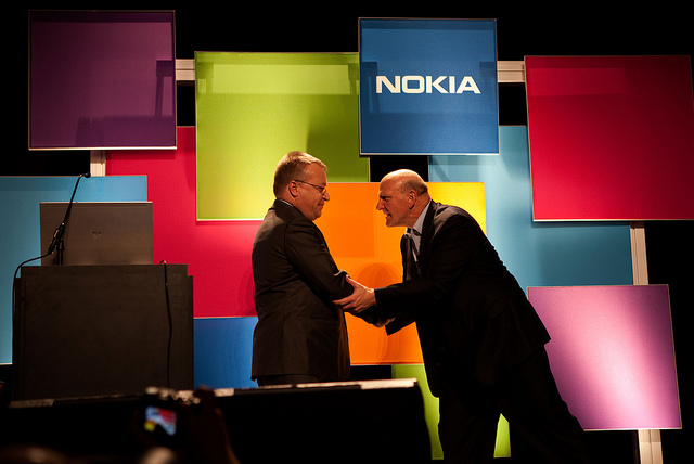 Nokia CEO Stephen Elop and Microsoft CEO Steve Ballmer in 2011.