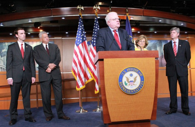 Rep. Jim Sensenbrenner (R-WI), center, has now become Congress' most outspoken opponent to the NSA's metadata program.