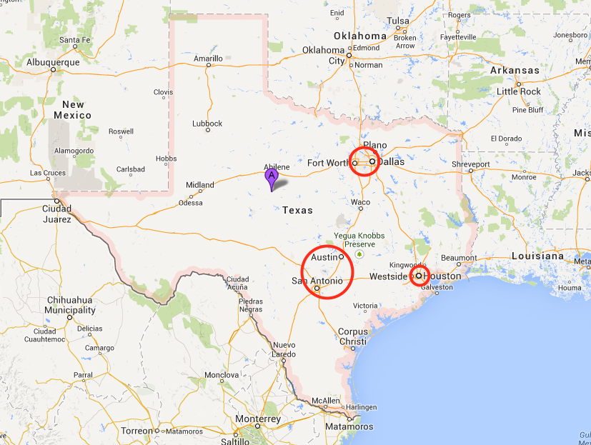 "The ""Texas Triangle,"" showing the locations of Austin, Dallas-Fort Worth, Houston, and San Antonio."