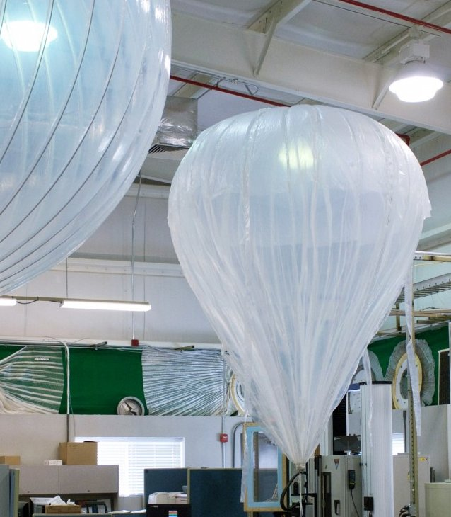 Scale models of the balloons used by NASA were on display.