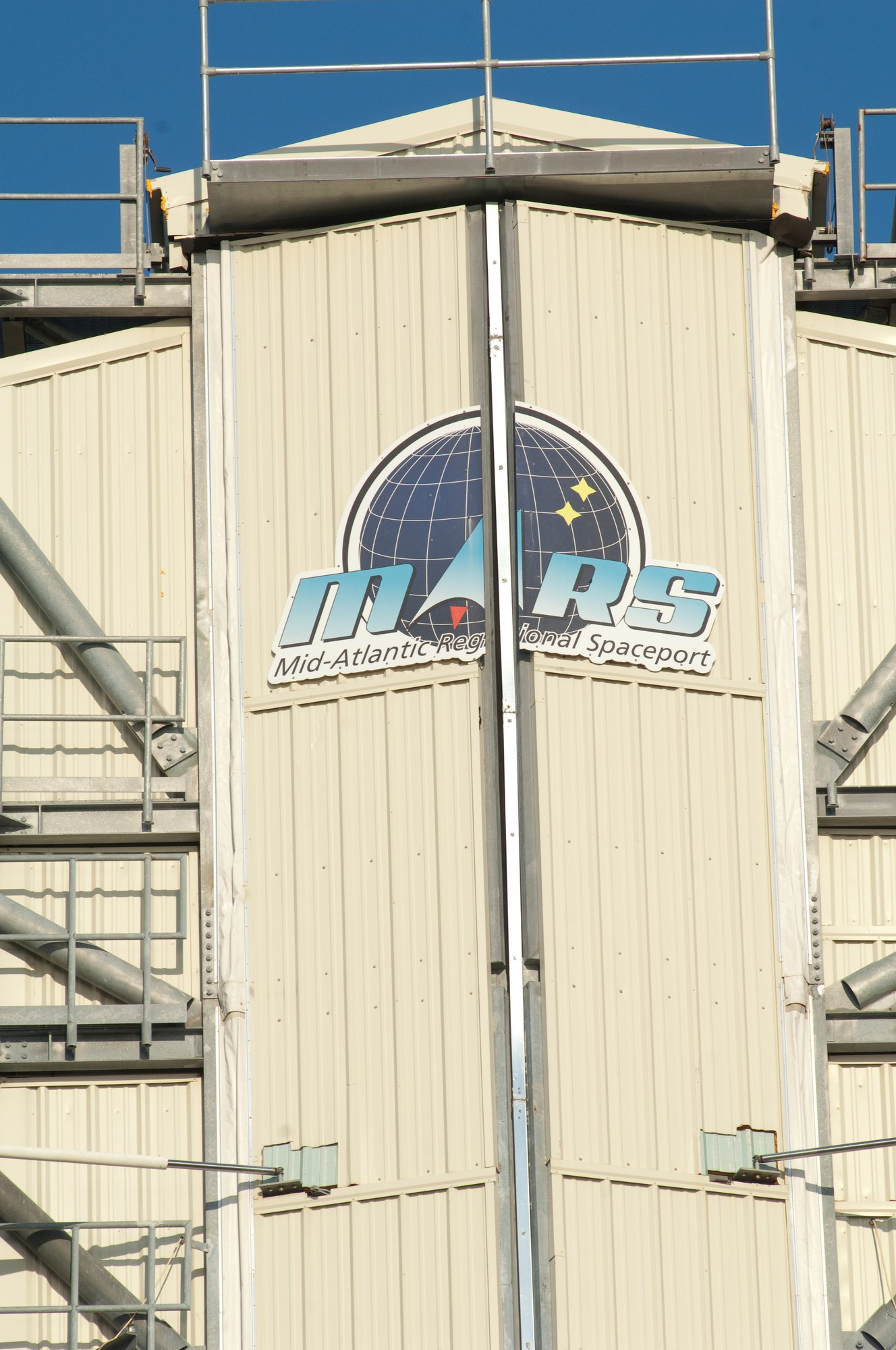 Wallops launch gantry displays the logo of the Mid-Atlantic Regional Spaceport. Orbital Sciences is using it for this launch and an upcoming attempt at its first supply run to the International Space Station.