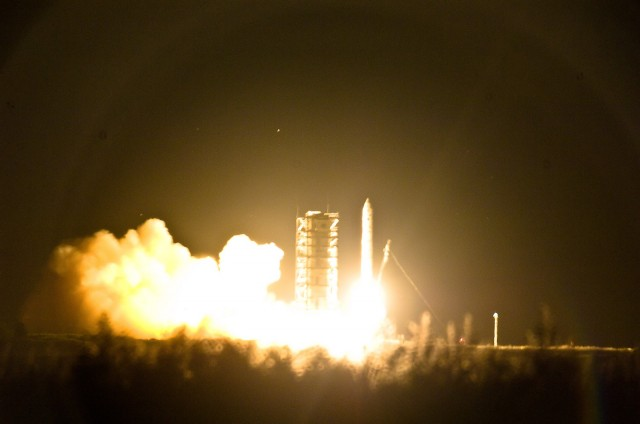 With the last support being pulled away, LADEE departs for the Moon.
