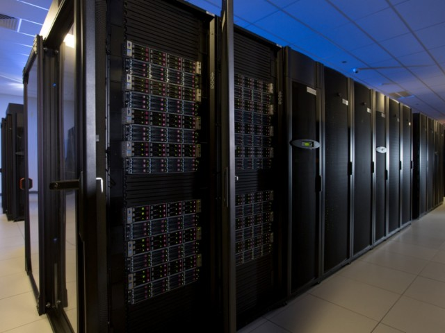 One of the hot-aisle containment pods in the Warren Enterprise Data Center—this one chock full of HP disk enclosures.