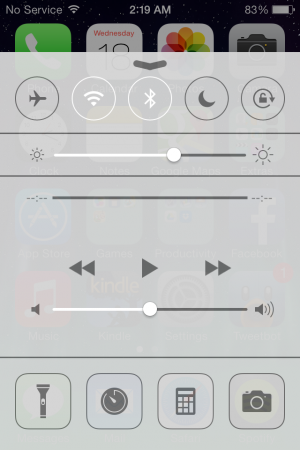 Transparent Control Center from the iPhone 4.