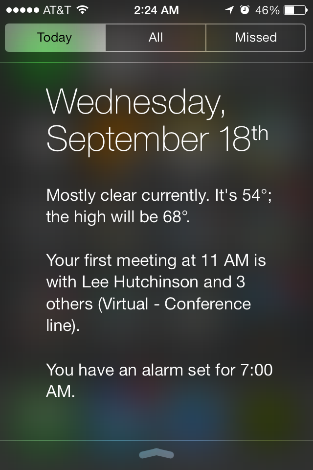 On the iPhone 5S, the background of the Notification Center is translucent and blurred.
