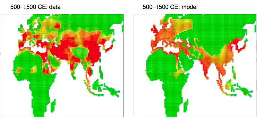 Red depicts a higher probability for the existence of a civilization. Green reflects lower.