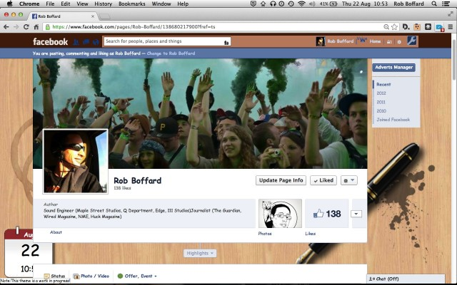 Ars contributor Rob Boffard's Facebook page, as viewed under Social Fixer.