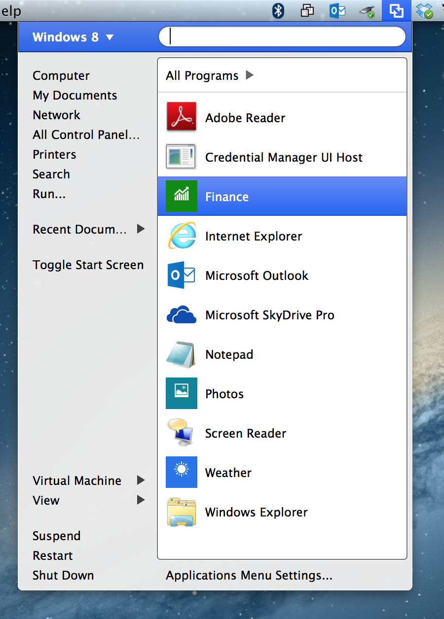 Almost like a Start menu, Fusion provides easy access to applications within virtual machines from the Mac's menu bar.