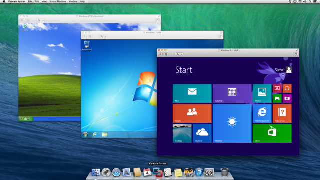 Windows XP, 7, and 8.1 running on Fusion 6 for Mac.