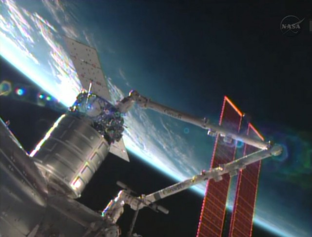The Cygnus commercial resupply craft is installed by the Canadarm2 to the Harmony node.