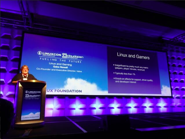 Gabe Newell speaking at LinuxCon in September.