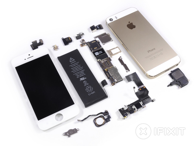 A gold iPhone 5S, exploded.