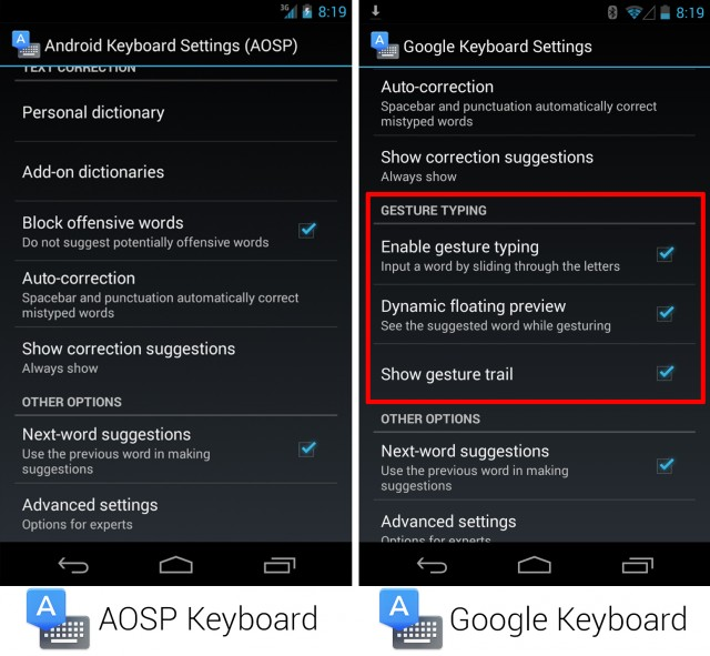 The keyboard settings screens showing the missing features.