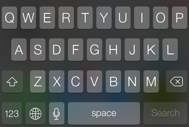The keyboard can change color and opacity depending on where you invoke it.
