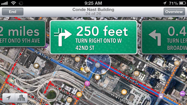 Directions in iOS 6 looked like road signs.