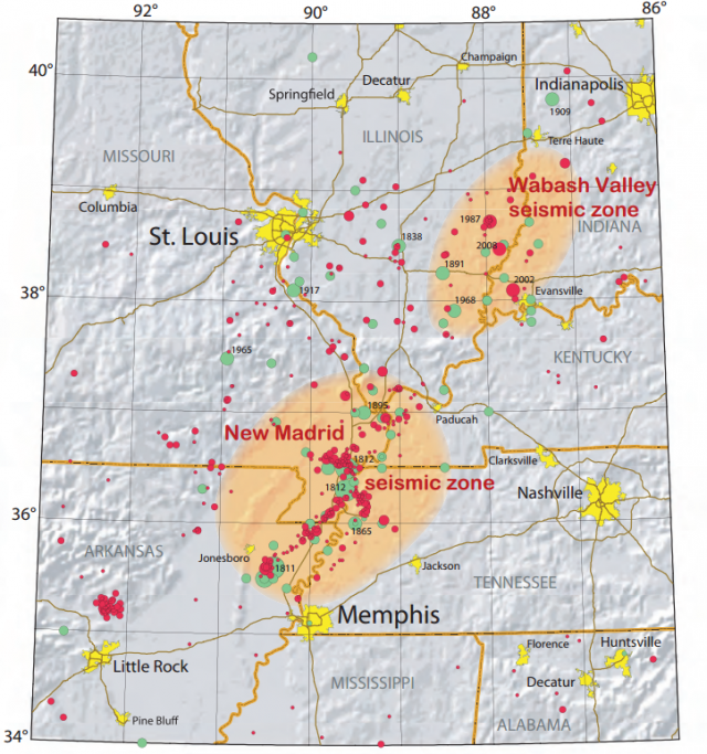 Earthquakes greater than magnitude 2.5 between 1974 and 2002 (red dots) around the New Madrid Seismic Zone. Earthquakes marked with green dots occurred prior to 1974.